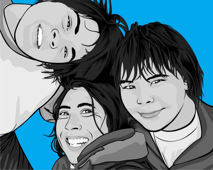 Three Friends on Blue on Canvas Pop Art