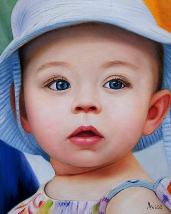 oil portrait from a photo of a beautiful baby