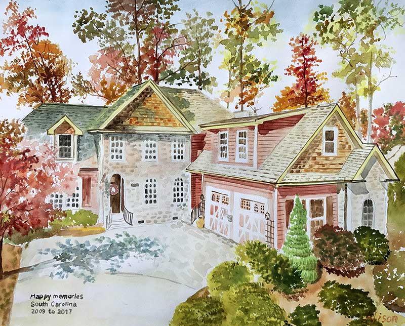 watercolor painting of a house in vibrant autumn colors