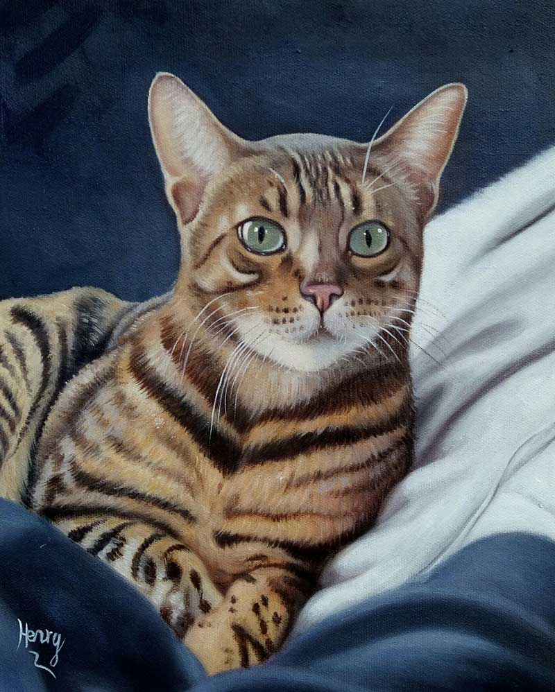 oil painting of a brown stripped cat with light blue eyes