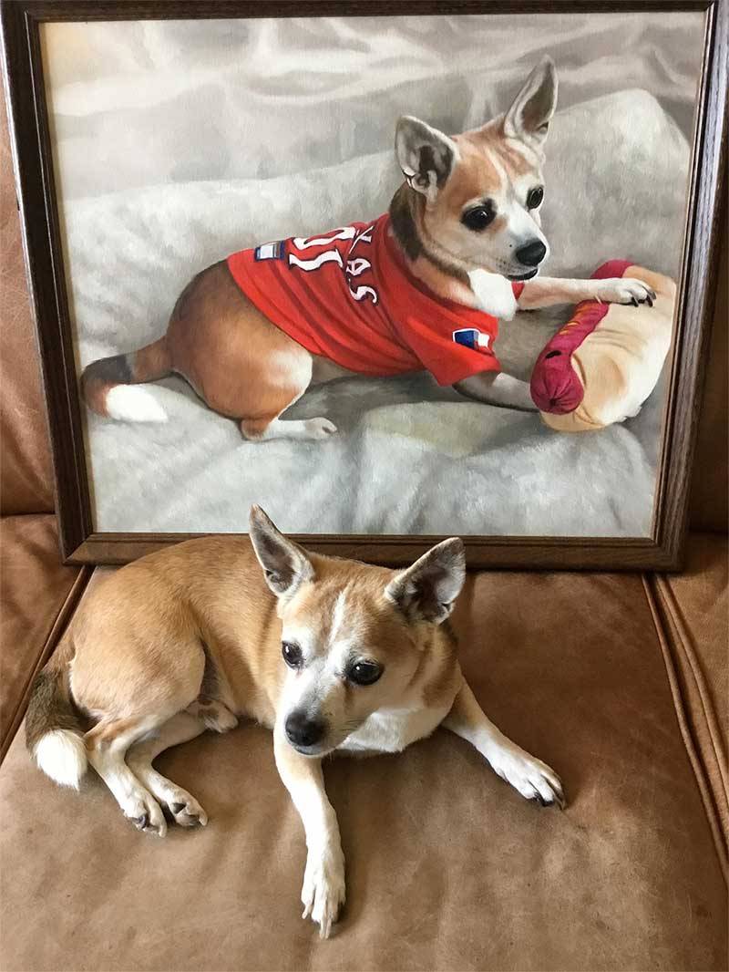 awesome oil painting of tiny dog wearing red shirt and playing with pillow hotdog