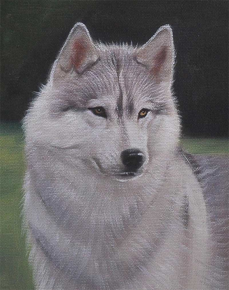 an oil painting of a white dog who looks like a wolf