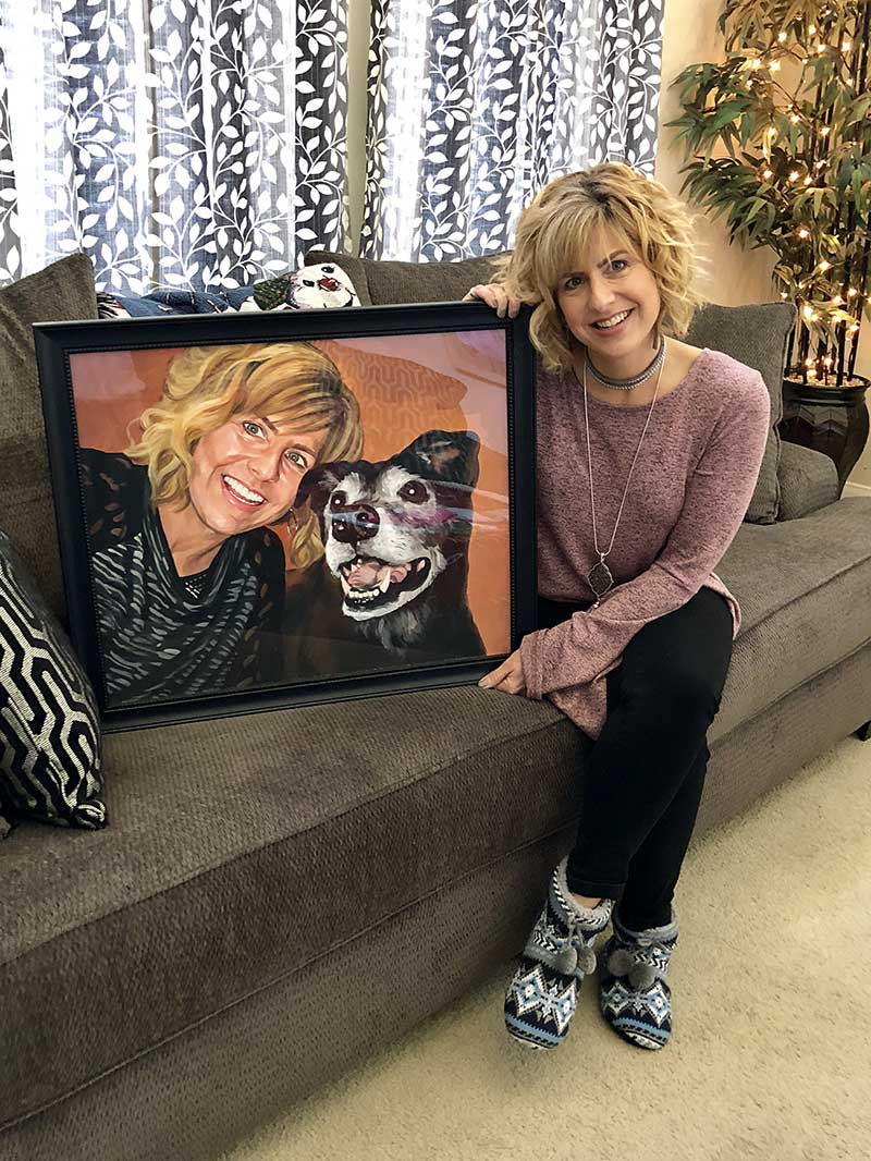a pastel painting of an owner and her happy dog