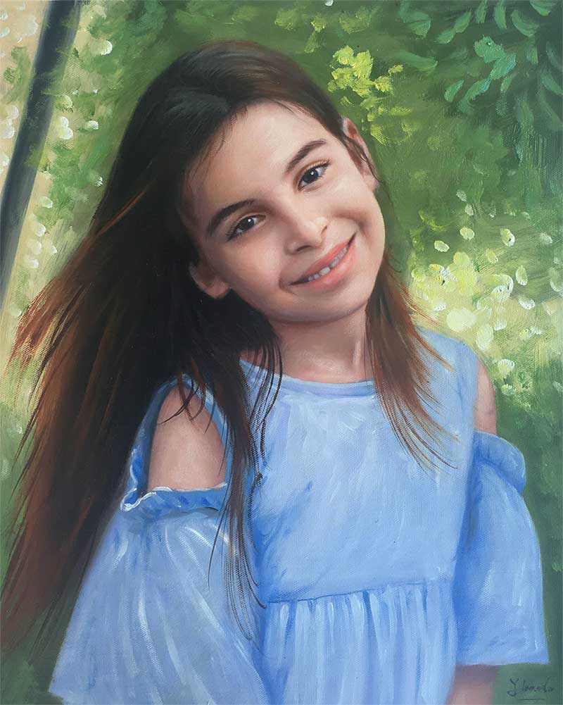 an oil painting of a child with brown hair green background