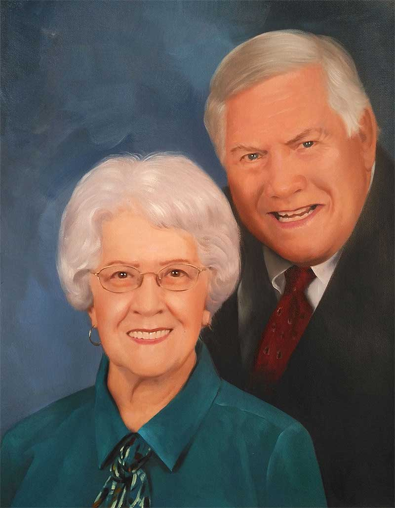 an oil painting of an elder couple with blue background