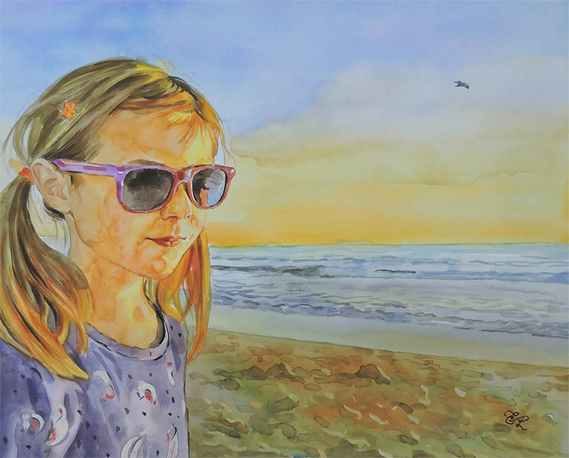 custom watercolor child portrait