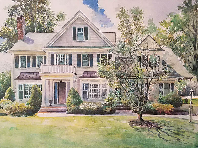a watercolor painting of a family house