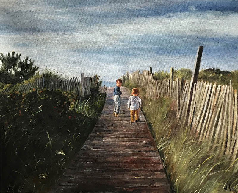 an acrylic painting of children by the beach
