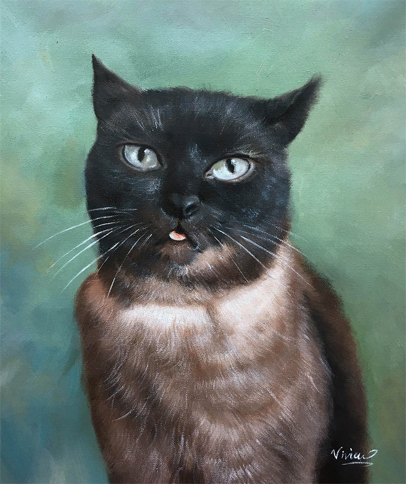 an oil painting of a cat green background