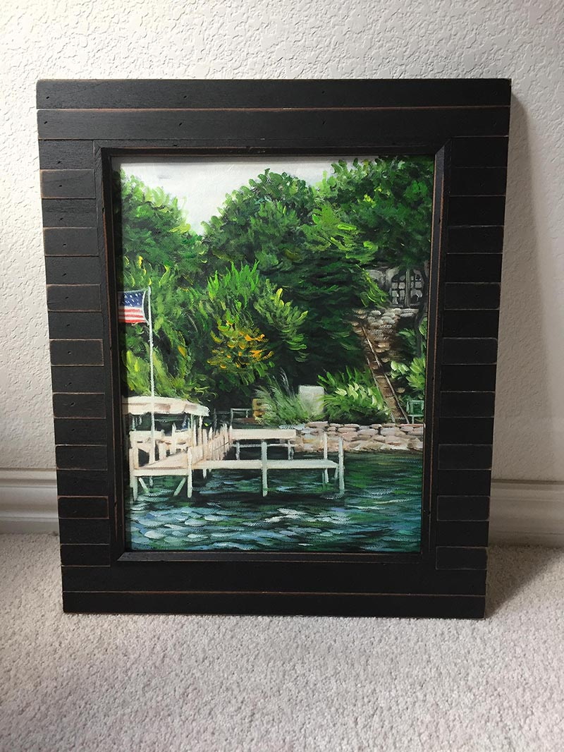 an oil painting of a house