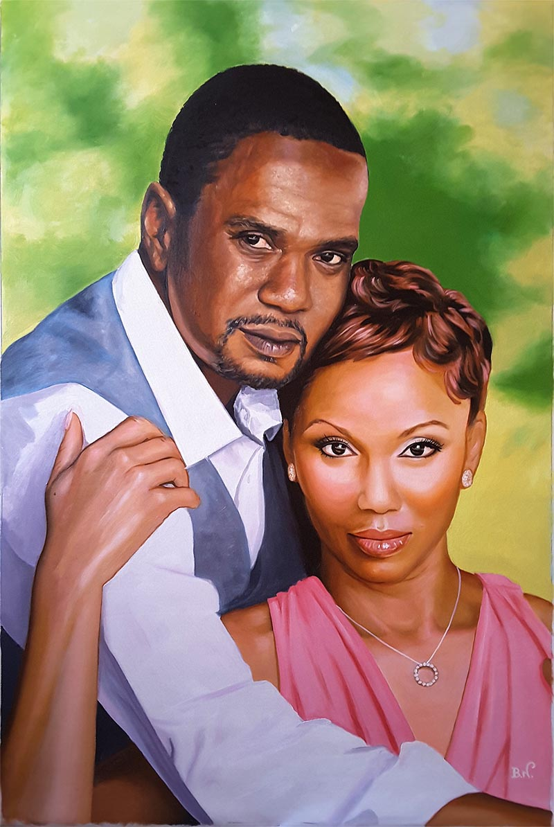 an oil painting of a couple