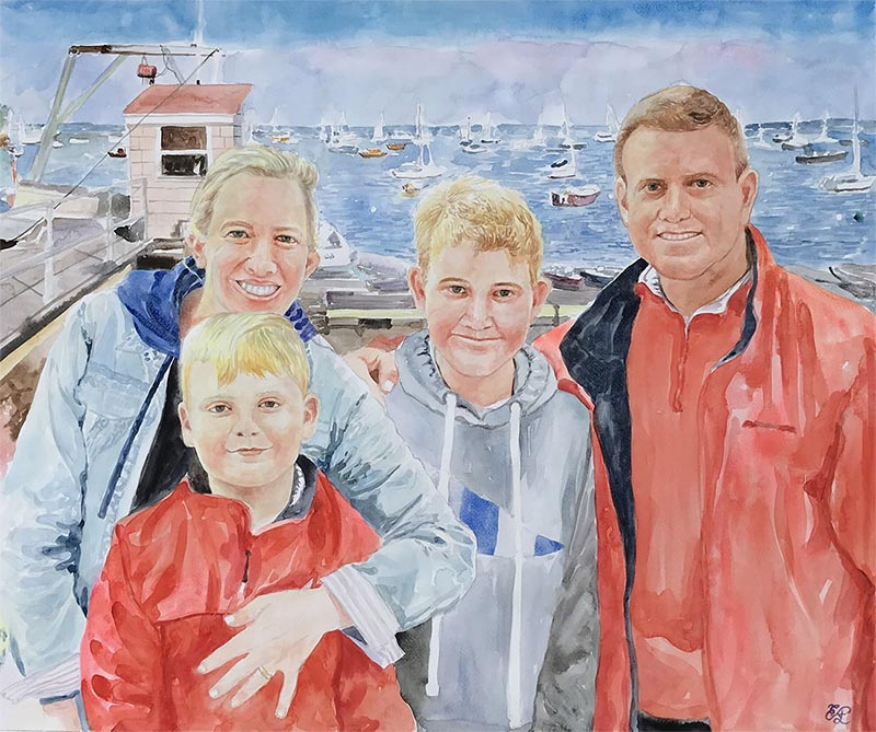 a watercolor painting of a family near the lake