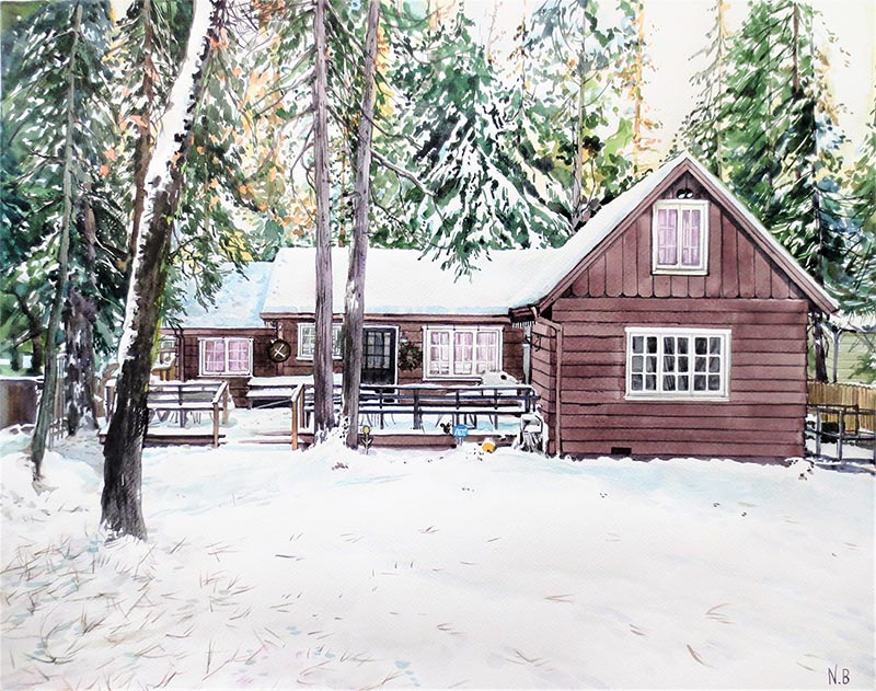 a watercolor painting of a house in the woods snow