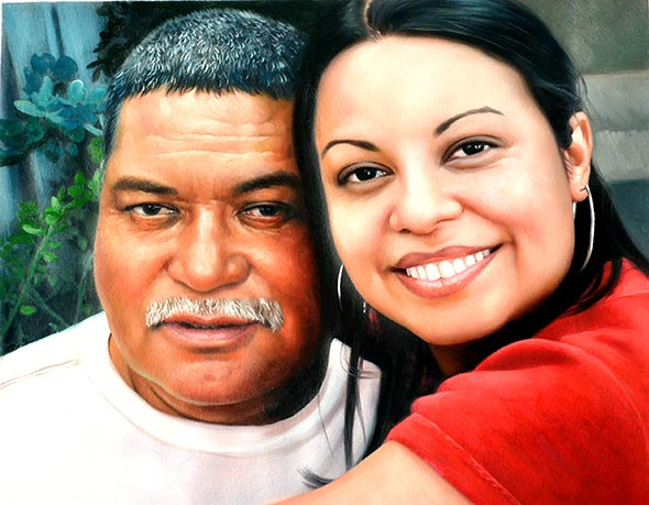 a custom oil paintng of father and daughter