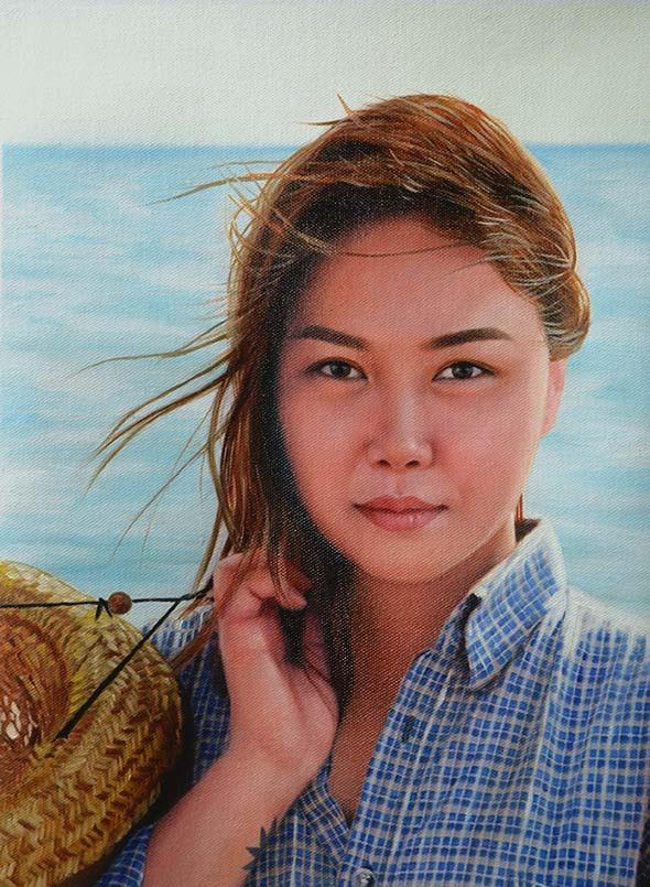 an oil painting of an asian lady on a beach