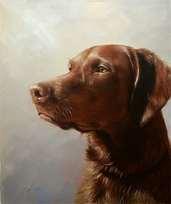 ricordo del nostro amato e fedele cane Mutt ritratto ad olio