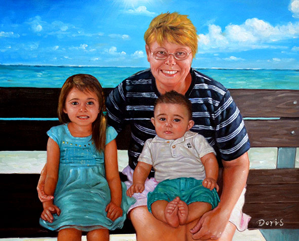 a custom oil painting of grandmother and grandchildren