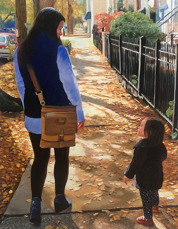 a custom oil paintng of mother and child walking