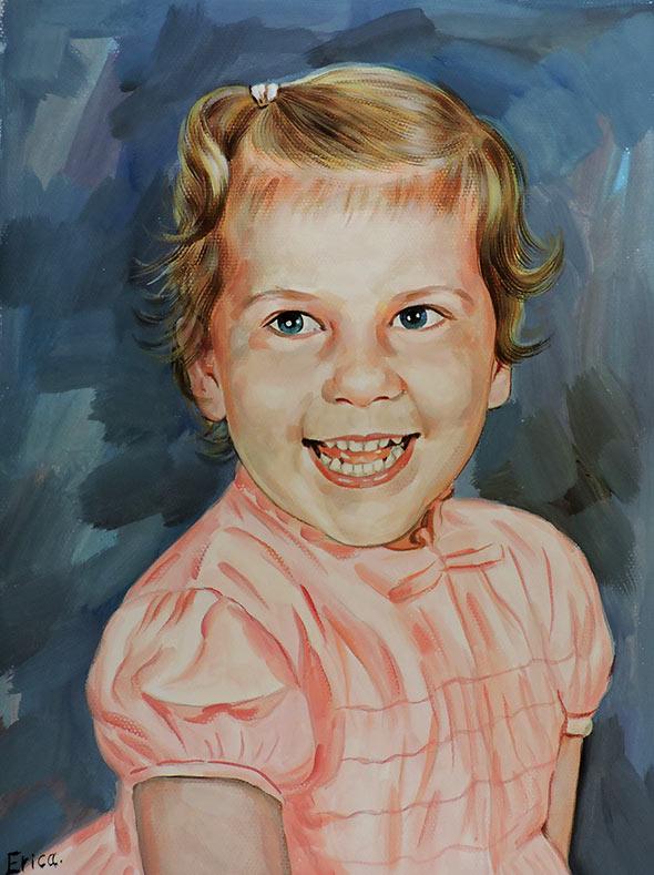 Ritratto bambina a pastello da fotografia