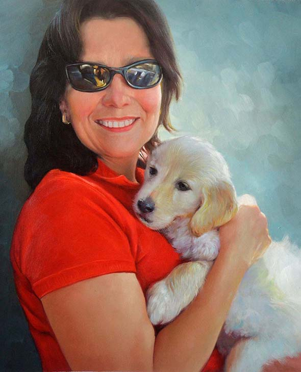 picture to oil canvas woman with small puppy