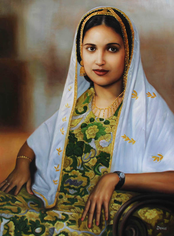 an oil painting of a beautiful lady with exotic dress