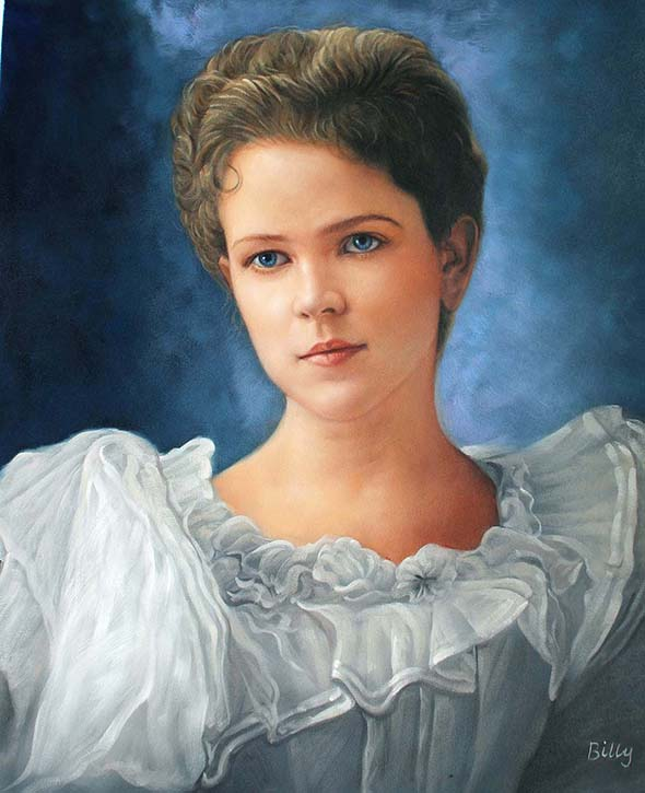 a custom oil panting of a young child with blue eyes