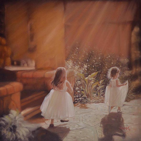 an oil painting of two little girls playing