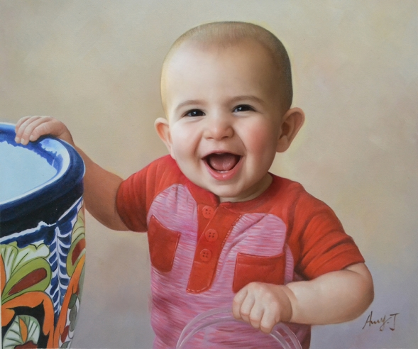 a custom oil portrait of a child smiling