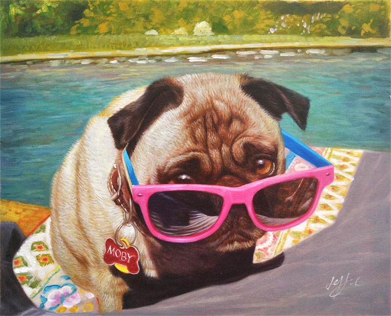 a pug with pink glasses