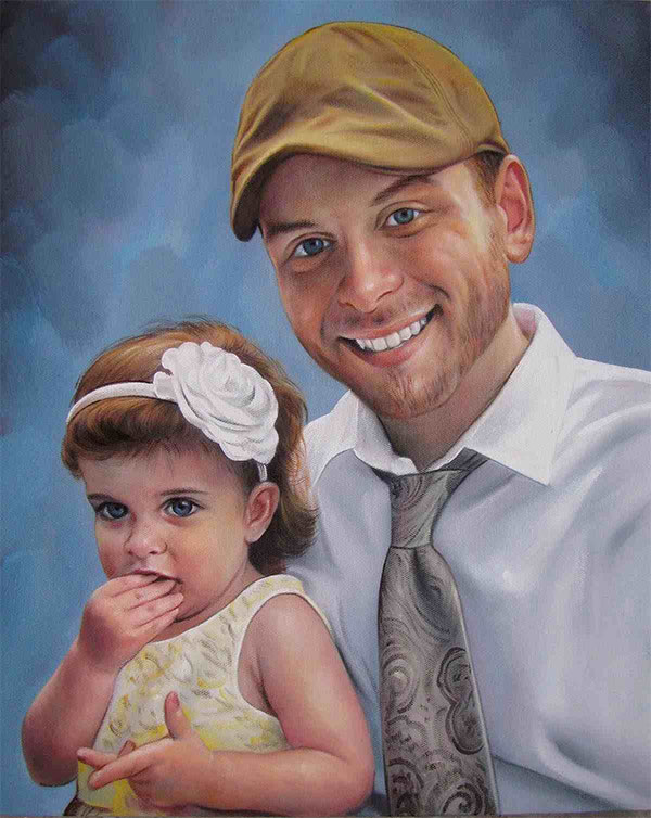 an oil painting of a daughter and a father white rose