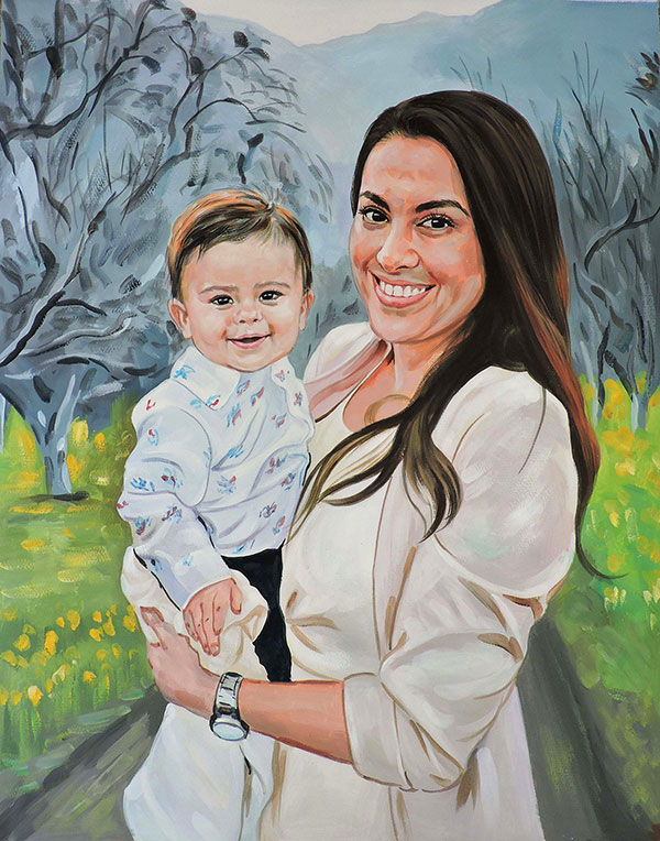 mother and child portrait pastel
