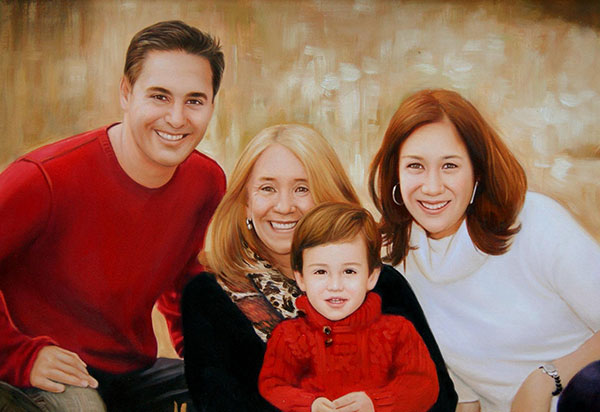 happy family oil portrait