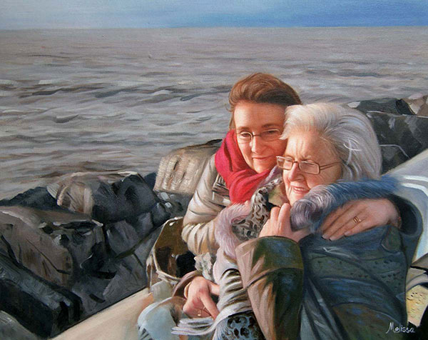 an oil paniting of elder mother and a daughter together