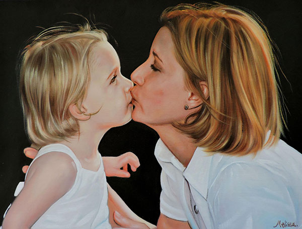 an oil painting of mother and child kissing
