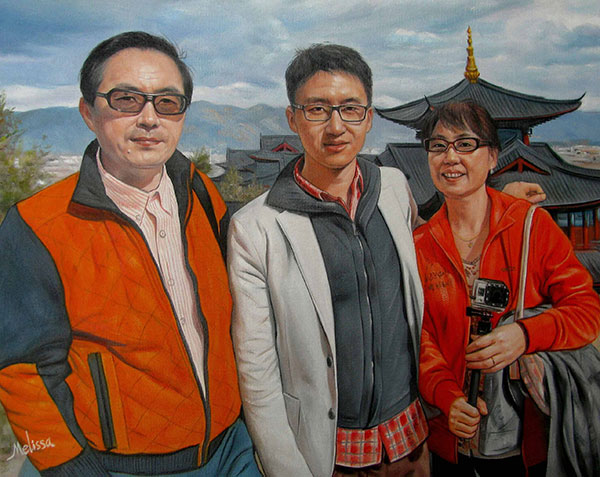 an oil panitng of asian family near temple