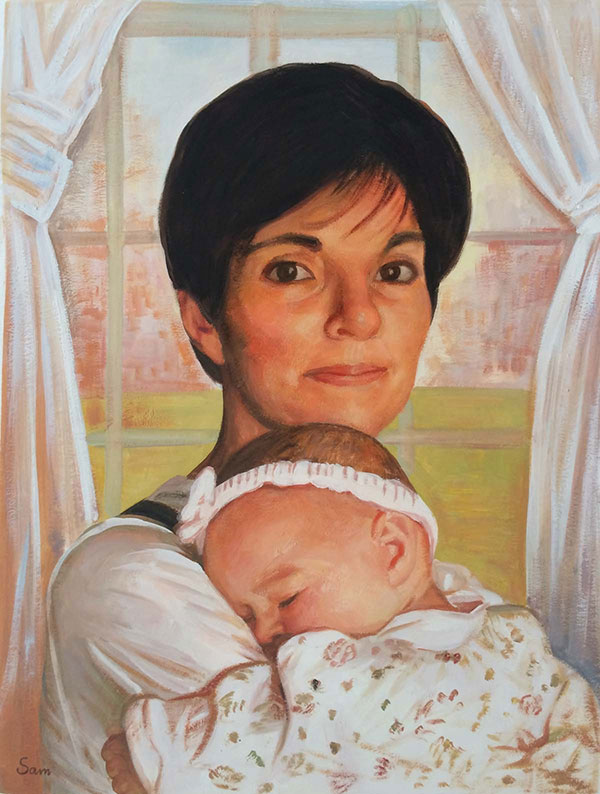 portrait of a mother with child in pastel