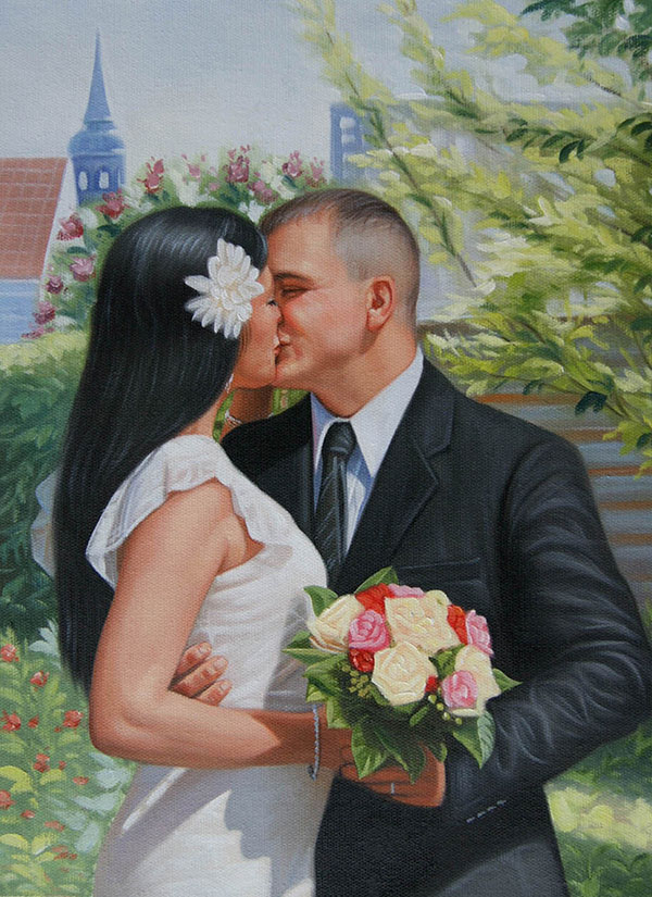 an oil painting of wedding couple kissing