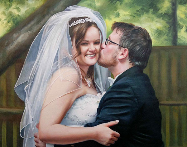 an oil painting of a groom kissing the bride