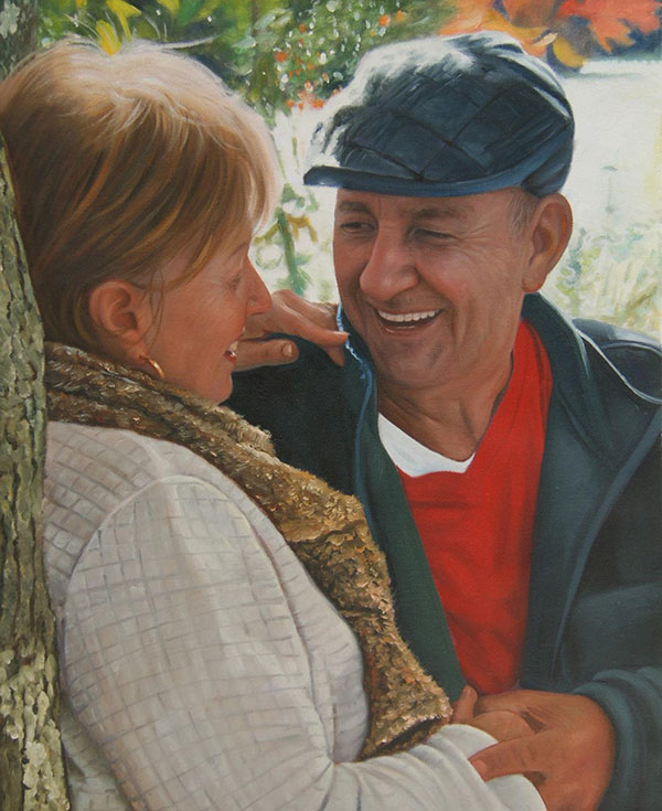 oil portrait of a happy couple