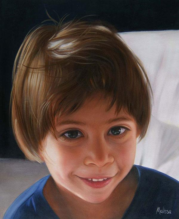 ritratto bambino olio da foto