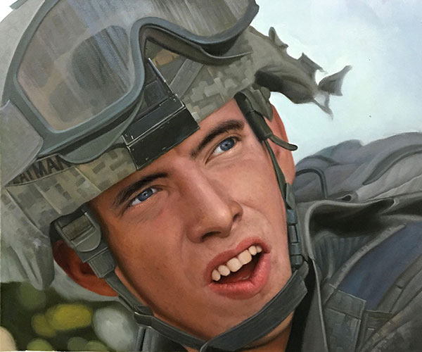 an oil portrait of a militeary soldier
