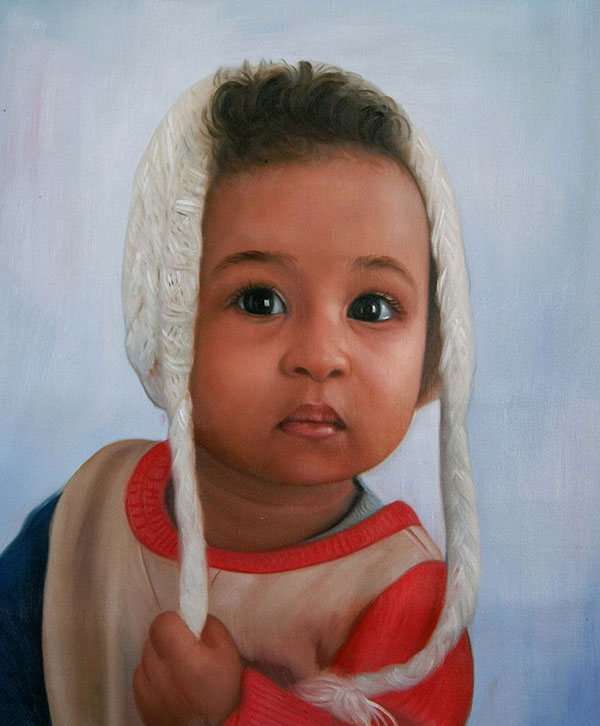 an oil painting of a black child wearing a hat