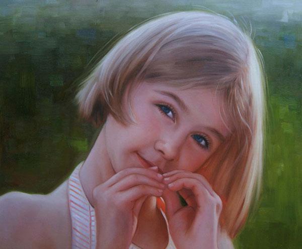 ritratto bambina olio da fotografia