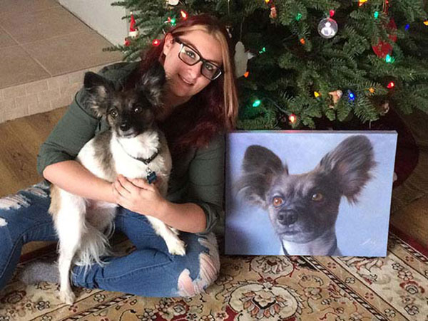 My daughter moved to Arizona and couldn`t take her dog. I had a painting done for her for Christmas and it came out great. As you can tell, she loves it.