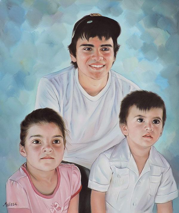 ritratto ad olio papà figli da foto