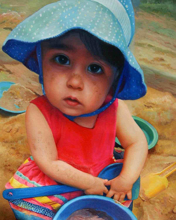 an oil painting of a young child with blue hat