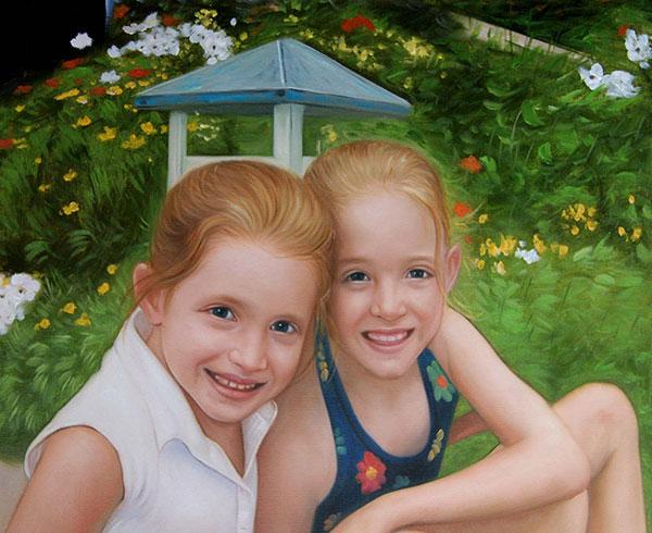 dipinto bambine olio da foto