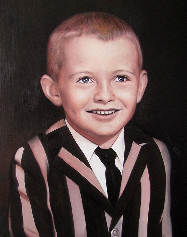 a custom oil painting of an young boy in black and white