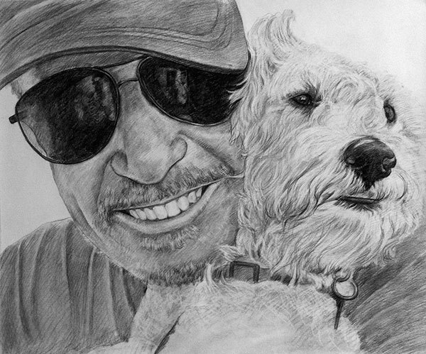 charcoal artwork of a dog