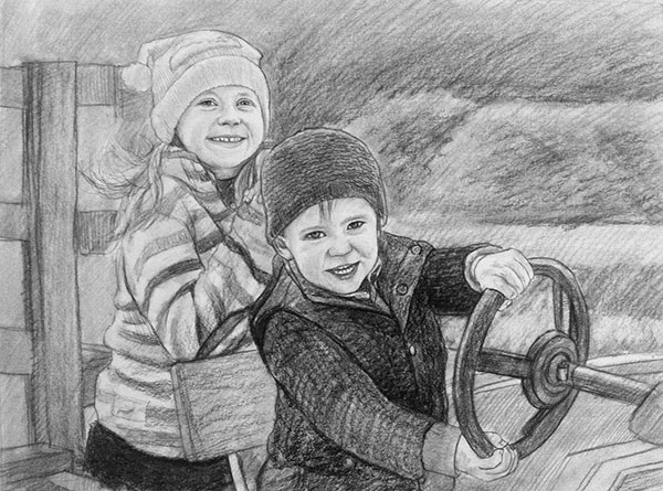 black and white drawing kids